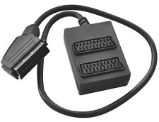SCART SPLITTER 2 WAY GANG TRAILING SOCKET EXTENSION,PLUG TO 2 SOCKETS+0.4M CABLE