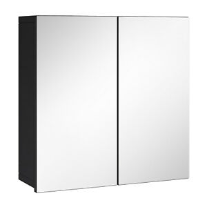Badezimmer Spiegelschrank Leon 60cm Schwarz – Stauraum Unterschrank Möbel zwei T