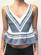 SEED white ink blue stripe sleeveless crop ruffle peplum top sz 6 NWT RR $129