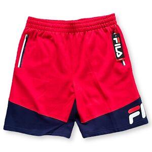 NEW Fila Fleece Sweat Shorts Red / Navy Blue Logo Size XL X-Large Flex A7 $45