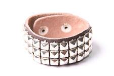 Fantastic Rocker Wide Belt Bracelet w Silver Colour Three Rows Of Studs (T503)