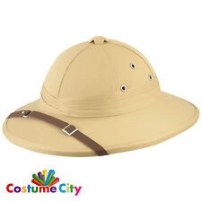 Adults Safari African Explorer Pith Helmet Hat Fancy Dress Costume Accessory