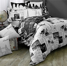 Passport London Paris Queen Bed Reversible Bedding Duvet Cover Set Black/White