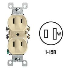 10-Leviton 15A Ivory NEMA 1-15R Residential Grade Duplex Outlet 006-00223-00I