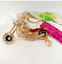 Betsey Johnson Necklace Chopper Motorcycle Unique Biker Girl Red Gold Crystals