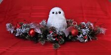 CHRISTMAS CENTERPIECE LARGE FEATHERED OWL ORNAMENTS RIBBONS XMAS HOLIDAY DECOR
