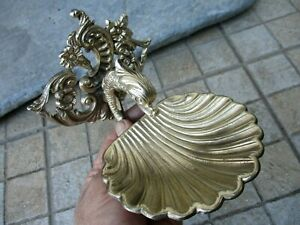Architectural Salvage Vintage Brass Soap Disk Holder Beautiful Shell Fish Shape