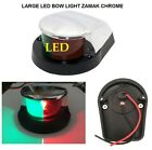 LARGE 12V MARINE LED NAVIGATION BOAT BOW LIGHT RED & GREEN LENSE - ZAMAK CHROME