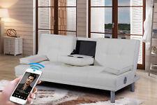 White 2 / 3 Seater Small Sofa Bed Modern Click Clack Design Bluetooth Speaker