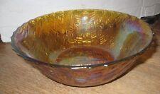 Marigold Basket weave Carnival Glass Bowl b64