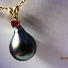 22mm Genuine RUBY Baroque Drop Tahiti,Natural Tahitian Pearl 14k Top #RMA450A.05