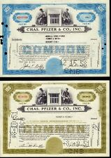 2 x CHAS PFIZER & CO INC ( now Pfizer Inc New York NY ) old stock certificate