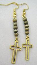 cats eye - Jesus Christ God Cross Crucifix Christian Gold Tone EARRINGS