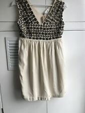 MILANZI Italy Cream Jewelled Dress Size S (8-10) New With Tags