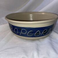 "Vintage 1993 Williamsburg Pottery 9 1/2"" Round Popcorn Bowl Blue Glaze"