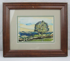 Amateur Watercolor Painting Landscape with a Colorful Tree 12x10 Signed OLESIAK