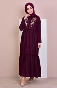 worclub Printed Beam Waist Vintage Maxi Dress Women Long Sleeve Muslim Arab Islamic Middle East Robes