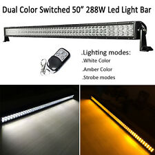White/Amber/Strobe Dual Color 50inch 288W LED Work Light Bar Offroad Driving SUV