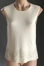Gorgeous CHARLIE BROWN Cream Bead Embellished Hem Sleeveless Knit Top Size 14/3