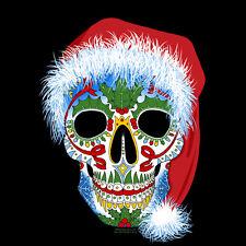 Sugar Skull Santa Long Sleeve Christmas T-Shirt