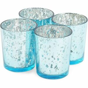 Blue Tealight Candle Holder, Mercury Glass Décor (2 x 2.7 in, 4 Pack)