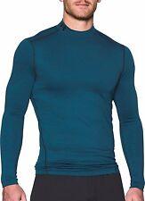 UNDER ARMOUR Mens ColdGear Twist Compression Mock Shirt Blue NWT 1280795 SMALL