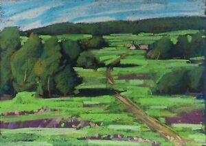 SUMMER MEADOWS landscape by Alena KOGAN, Original pastel Painting, JEWIHS