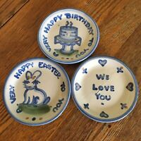 Vtg M A Hadley Celebration coasters Set 3 blue gray We Love You, Easter, HBday