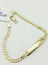 "14k Solid Yellow Gold Cuban Curb Link Chain ID Plate Bracelet 6"" Child Baby"