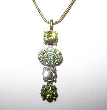 Collier,Schlangenkette+Anhänger mit Swarovski-Elements,Strass, grün - antik-gold