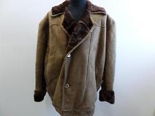 "MENS Sheepskin Leather Shearling COAT LIGHT BROWN 48"" CHEST Grade B W621"