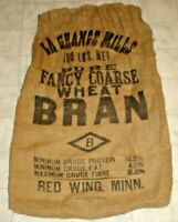 Vintage La Grange Mills Wheat Bran Burlap Feed Sack Red Wing, Minnesota (C14)