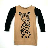 Gymboree Right Meow Leopard Long Sleeve Sweater Dress Girls Size 4