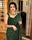 Womens Georgette Green Sequins Ethnic Saree Party Wear Fancy Sparkle Sari Blouse