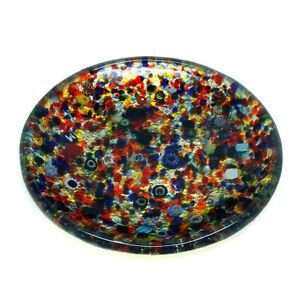 Murano Glass Plate Gold Multi Coloured Circular Millefiori Venice 14cm Diameter