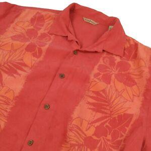 Tommy Bahama Mens 100% Silk Short Sleeve Salmon Pink & Orange Floral Size L