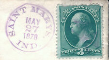 US Banknote Stamp on Piece Fancy CROSS Cancel & Validating St. Marys, Ind. CDS
