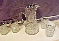 ABP American Brilliant Period Cut Glass Crystal Pitcher Antique Large glasses 4