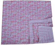 White Kantha Quilt Queen Size Floral Bedspread Handmade Blanket Bedding Indian