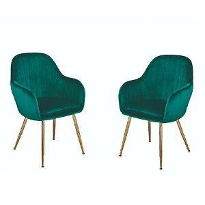 Pair of Green Crushed Velvet Accent Chairs - Fabric Dining Chair Occasional Seat