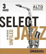 1 Box: 10 D'Addario/Rico Select Jazz Reeds Unfiled Alto Sax 3-Hard 3H RRS10ASX3H