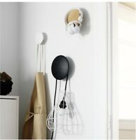 Wall Mounted Wood Hook Clothes Headset Hanger Towel Rack Round Dot Decorative