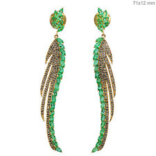 New Diamond Emerald Gemstone Leaf shape Feather Dangle Earrings 18k Gold Jewelry