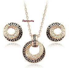 18k Rose Gold Filled Made with Swarovski Crystal Women Circle Wedding Set XS13