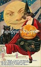 Fabric Block Witch Halloween Witch Jack O Lantern Vintage Postcard Image