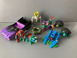 TMNT Foot Cruiser Footski SludgeMobile Flushomatic Triceratops Micro Playset lot
