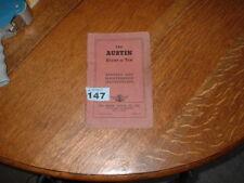 AUSTIN EIGHT & TEN RUNNING AND MAINTENANCE INSTRUCTION BOOK.1952