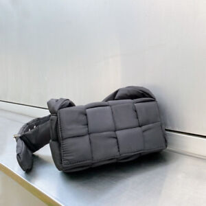 Padded Woven Quilted Nylon Flap Shoulder Bag Crossbody Purse Messenger Tubular