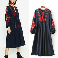 Boho Women Ethnic Navy Floral Tasseled Embroidered Loose Long Dress Bloggers Fav