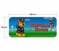 Paw Patrol Chase Door Plaque - Dog Personalised Childrens Bedroom Sign Girls